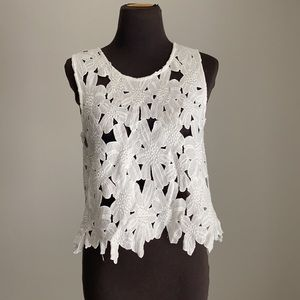 Caution to the wind sz S embroidered lace blouse